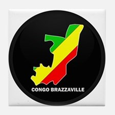 Flag Map of CONGO BRAZZAVILLE Tile Coaster