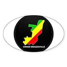 Flag Map of CONGO BRAZZAVILLE Oval Decal