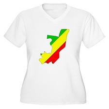 CONGO BRAZZAVILLE Flag Map T-Shirt