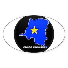 Flag Map of CONGO KINSHASA Oval Decal