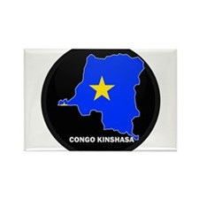 Flag Map of CONGO KINSHASA Rectangle Magnet