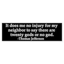 Jefferson religious tolerence bumper sticker