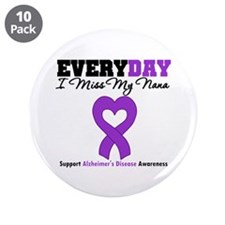 """Alzheimer's MissMyNana 3.5"""" Button (10 pack)"""