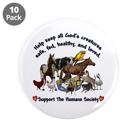 """All Gods Creatures 3.5"""" Button (10 pack)"""
