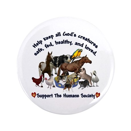 "All Gods Creatures 3.5"" Button"