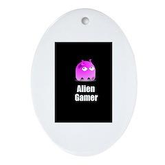 Alien Gamer Oval Ornament