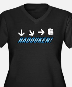 HADOUKEN! Women's Plus Size V-Neck Dark T-Shirt