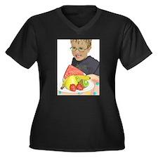 fruitfantasticb Women's Plus Size V-Neck Dark T-Sh