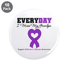 """Alzheimer's MissMyGrandpa 3.5"""" Button (10 pack)"""