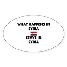 What Happens In SYRIA Stays There Oval Decal