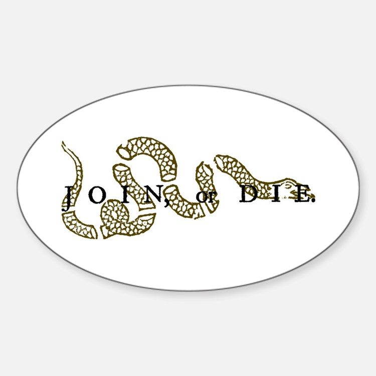 Join Or Die Oval Decal