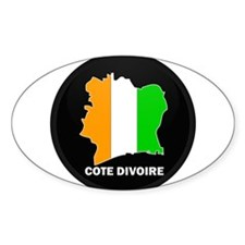 Flag Map of Cote Divoire Oval Decal