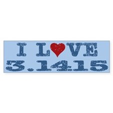 I Love Heart Pi 3.1415 Bumper Bumper Sticker