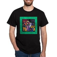 Still Life Floral Black T-Shirt