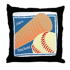 IRB Playing Baseball Throw Pillow