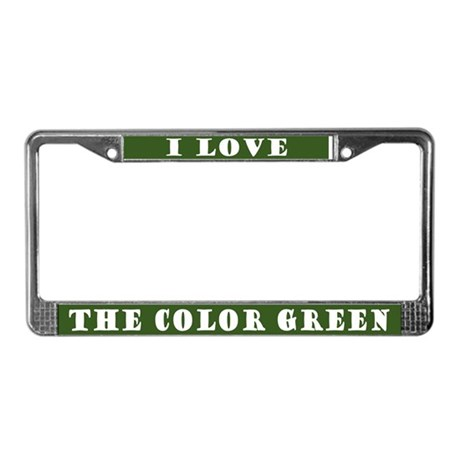 I Love Color Green License Plate Frame