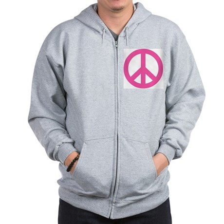 Hot Pink Peace Sign Zip Hoodie