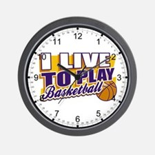 Live to Play Basketball Wall Clock