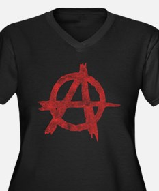 Vintage Anarachy Symbol Women's Plus Size V-Neck D