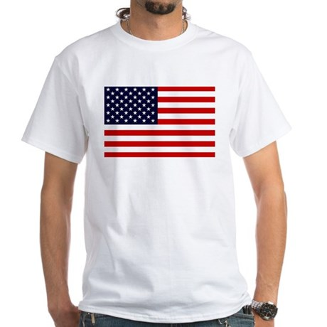 American Flag White T-Shirt