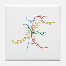 Prague Metro Map Tile Coaster