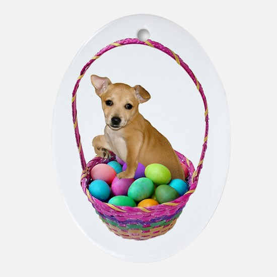 Puppy Easter Basket Ornament (Oval)