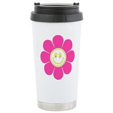 Hot Pink Smiley Flower Thermos Mug