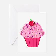 Pink Confetti Cupcake Greeting Card