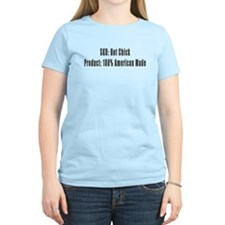 American Made Hot Chick and Bar Code T Shirt