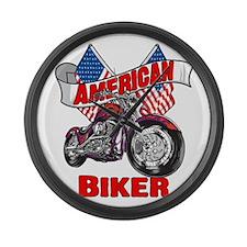 American Biker 4 Large Wall Clock
