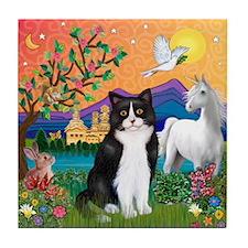 FantasyLand/B&W Cat Tile Coaster
