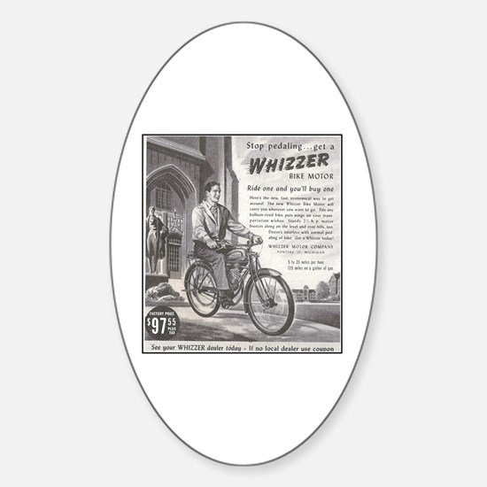 """""""1946 Whizzer Ad"""" Oval Decal"""