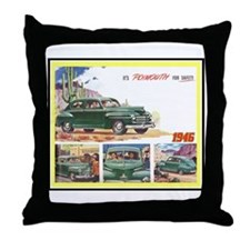 """""""1946 Plymouth Ad"""" Throw Pillow"""