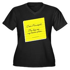 Lesson Plan Women's Plus Size V-Neck Dark T-Shirt