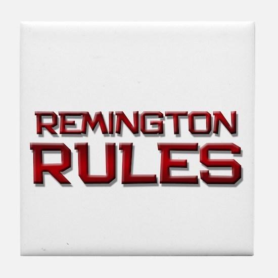 remington rules Tile Coaster