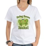 Being Green Rocks Women's V-Neck T-Shirt