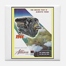 """WWII Allison Engines"" Tile Coaster"