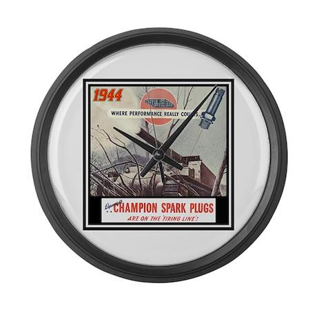 """""""Dependable Champion Plugs"""" Large Wall Clock"""