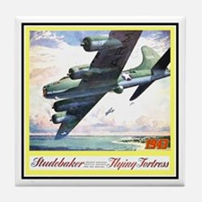 """Flying Fortress Engines Ad"" Tile Coaster"