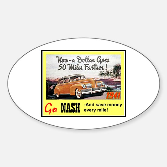 """""""1941 Nash Ad"""" Oval Decal"""