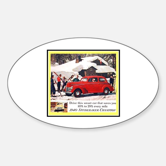 """""""1940 Studebaker Ad"""" Oval Decal"""