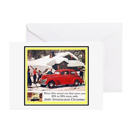 """""""1940 Studebaker Ad"""" Greeting Cards (Pk of 10)"""