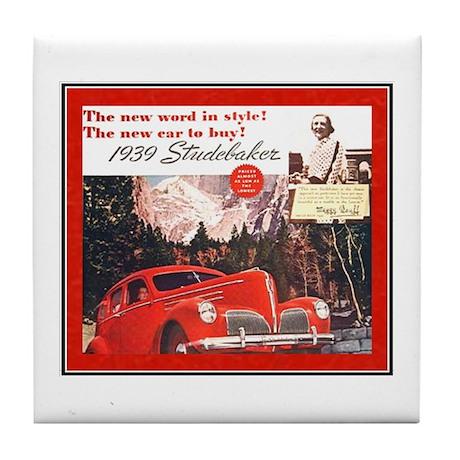 """1939 Studebaker Ad"" Tile Coaster"