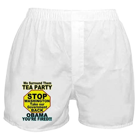 Tea Party Obama Fired Boxer Shorts