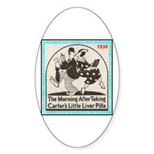 """""""1938 Liver Pills Ad"""" Oval Decal"""