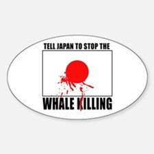 Japan Stop Whale Killing Oval Decal