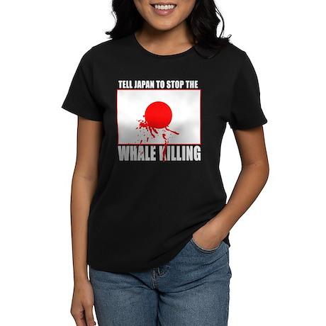Japan Stop Whale Killing Women's Dark T-Shirt