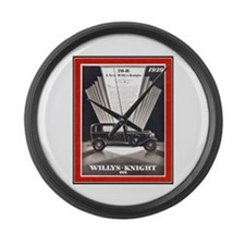 """""""1929 Willys-Knight Ad"""" Large Wall Clock"""