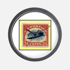 """1918 Inverted Jenny Stamp"" Wall Clock"