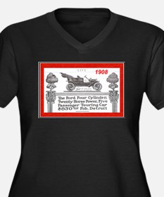 """Model T Ad"" Women's Plus Size V-Neck Dark T-Shirt"